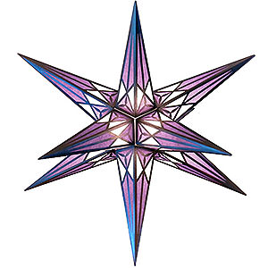 Advent Stars and Moravian Christmas Stars Hartensteiner Christmas Stars Hartenstein Christmas Star for Inside Use - White-Purple with Silver - 68 cm / 27 inch