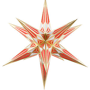 Advent Stars and Moravian Christmas Stars Hartensteiner Christmas Stars Hartenstein Christmas Star for Inside Use - White-Red with Gold - 68 cm / 27 inch