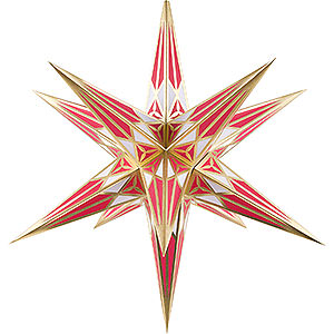 Advent Stars and Moravian Christmas Stars Hartensteiner Christmas Stars Hartenstein Christmas Star for Inside Use - White-Wine Red with Gold - 68 cm / 27 inch