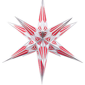 Advent Stars and Moravian Christmas Stars Hartensteiner Christmas Stars Hartenstein Christmas Star for Inside Use - White-Wine Red with Silver - 68 cm / 27 inch