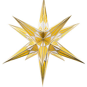 Advent Stars and Moravian Christmas Stars Hartensteiner Christmas Stars Hartenstein Christmas Star for Inside Use - White-Yellow with Gold - 68 cm / 27 inch