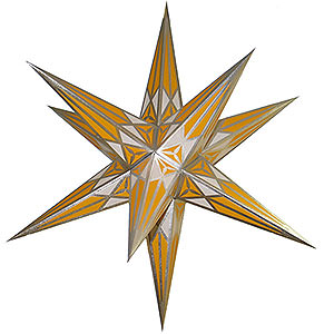 Advent Stars and Moravian Christmas Stars Hartensteiner Christmas Stars Hartenstein Christmas Star for Inside Use - White-Yellow with Silver - 68 cm / 27 inch