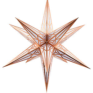 Advent Stars and Moravian Christmas Stars Hartensteiner Christmas Stars Hartenstein Christmas Star for Inside Use - White with Copper - 68 cm / 27 inch