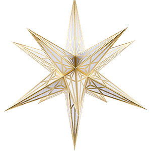 Advent Stars and Moravian Christmas Stars Hartensteiner Christmas Stars Hartenstein Christmas Star for Inside Use - White with Gold - 68 cm / 27 inch