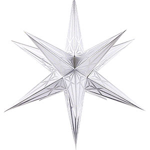 Advent Stars and Moravian Christmas Stars Hartensteiner Christmas Stars Hartenstein Christmas Star for Inside Use - White with Silver - 68 cm / 27 inch