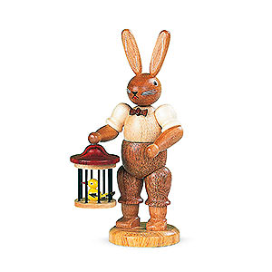 Kleine Figuren & Miniaturen Tiere Hasen Hase mit Vogelkäfig - 11 cm