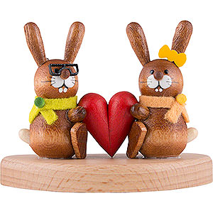 Kleine Figuren & Miniaturen Tiere Hasen Hasenpaar auf Sockel mit Herz - 5 cm