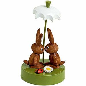 Kleine Figuren & Miniaturen Tiere Hasen Hasenpaar unter Schrim - 7 cm