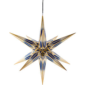Advent Stars and Moravian Christmas Stars Haßlauer Christmas Stars Hasslau Christmas Star - Blue/White with Golden Pattern and Lighting - 75 cm / 30 inch -  Inside/Outside Use