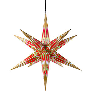 Advent Stars and Moravian Christmas Stars Haßlauer Christmas Stars Hasslau Christmas Star - Red/White with Golden Pattern and Lighting - 75 cm / 30 inch -  Inside/Outside Use