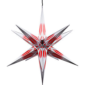 Advent Stars and Moravian Christmas Stars Haßlauer Christmas Stars Hasslau Christmas Star - Red/White with Silver Pattern and Lighting - 75 cm / 30 inch -  Inside/Outside Use