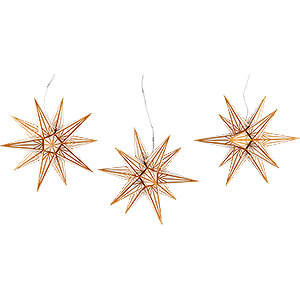 Advent Stars and Moravian Christmas Stars Haßlauer Christmas Stars Hasslau Christmas Star Set of Three for Inside Use White with Golden Pattern - 16 cm / 6.3 inch