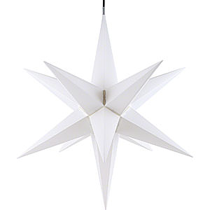 Advent Stars and Moravian Christmas Stars Haßlauer Christmas Stars Hasslau Christmas Star - White and Lighting - 75 cm / 30 inch -  Inside/Outside Use
