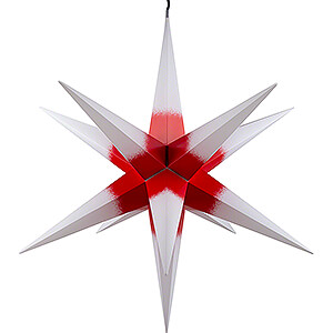Advent Stars and Moravian Christmas Stars Haßlauer Christmas Stars Hasslau Christmas Star - White with Red Core and Lighting - 75 cm / 30 inch -  Inside/Outside Use