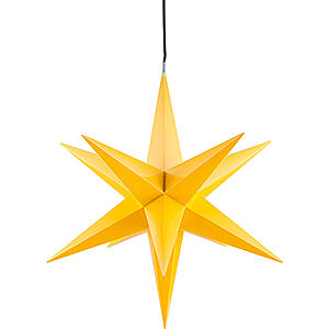 Advent Stars and Moravian Christmas Stars Haßlauer Christmas Stars Hasslau Christmas Star - Yellow and Lighting - 60 cm / 23.6 inch - Inside/Outside Use