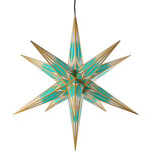 Advent Stars and Moravian Christmas Stars Haßlauer Christmas Stars Hasslau Christmas Star for Outside Use Turquoise/White with Golden Pattern - 75 cm / 30 inch