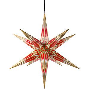Adventssterne und Weihnachtssterne Haßlauer Weihachtssterne Haßlauer Weihnachtsstern Außenstern rot/weiß mit Goldmuster - 75 cm