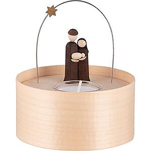 Lichterwelt Kerzenhalter Christi Geburt Heilige Familie Teelichtset natur - 11 cm
