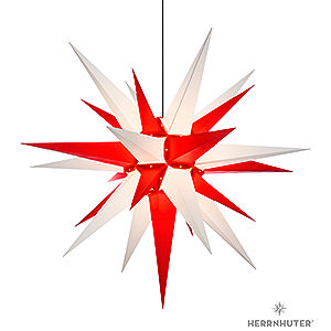 Advent Stars and Moravian Christmas Stars Herrnhuter Star A13 Herrnhuter Moravian Star A13 White/Red Plastic - 130cm/51 inch