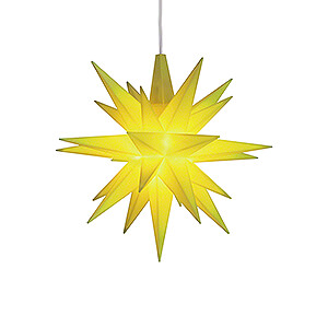 Advent Stars and Moravian Christmas Stars Herrnhuter Star A1 Herrnhuter Moravian Star A1e Lemon Plastic, Special Edition 2019 - 13 cm / 5.1 inch
