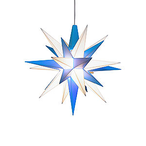 Advent Stars and Moravian Christmas Stars Herrnhuter Star A1 Herrnhuter Moravian Star A1e White/Blue Plastic - 13 cm/5.1 inch