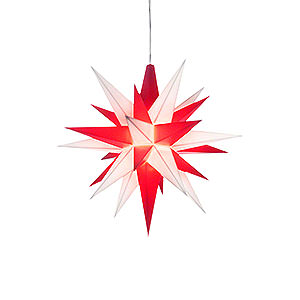 Advent Stars and Moravian Christmas Stars Herrnhuter Star A1 Herrnhuter Moravian Star A1e White/Red Plastic - 13 cm/5.1 inch