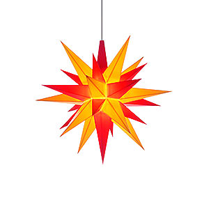 Advent Stars and Moravian Christmas Stars Herrnhuter Star A1 Herrnhuter Moravian Star A1e Yellow/Red Plastic - 13 cm/5.1 inch