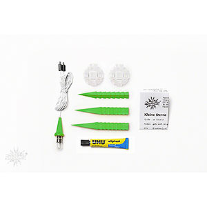 Advent Stars and Moravian Christmas Stars Herrnhuter Star A1 Herrnhuter Moravian Star DIY Kit A1b Green Plastic - 13 cm/5.1 inch