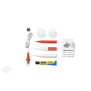 Advent Stars and Moravian Christmas Stars Herrnhuter Star A1 Herrnhuter Moravian Star DIY Kit A1b White/Red Plastic - 13 cm/5.1 inch