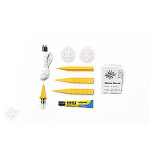 Advent Stars and Moravian Christmas Stars Herrnhuter Star A1 Herrnhuter Moravian Star DIY Kit A1b Yellow Plastic - 13cm/5.1 inch