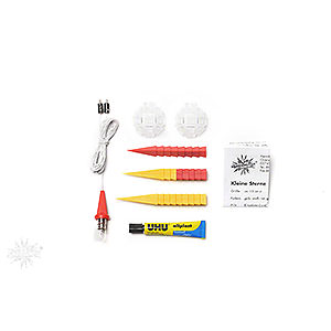 Advent Stars and Moravian Christmas Stars Herrnhuter Star A1 Herrnhuter Moravian Star DIY Kit A1b Yellow/Red Plastic - 13 cm/5.1 inch