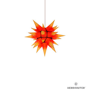 Advent Stars and Moravian Christmas Stars Herrnhuter Star I4 Herrnhuter Moravian Star I4 Yellow with Red Core Paper - 40 cm / 15.7 inch