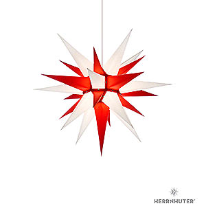 Advent Stars and Moravian Christmas Stars Herrnhuter Star I6 Herrnhuter Moravian Star I6 White/Red Paper - 60 cm / 23.6 inch