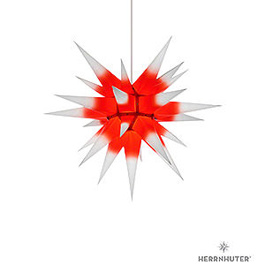 Advent Stars and Moravian Christmas Stars Herrnhuter Star I6 Herrnhuter Moravian Star I6 White with Red Core Paper - 60 cm / 23.6 inch
