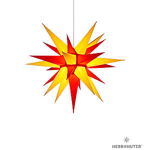 Advent Stars and Moravian Christmas Stars Herrnhuter Star I6 Herrnhuter Moravian Star I6 Yellow/Red Paper - 60 cm / 23.6 inch