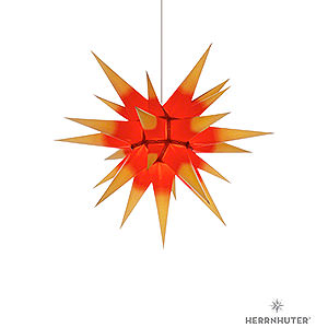 Advent Stars and Moravian Christmas Stars Herrnhuter Star I6 Herrnhuter Moravian Star I6 Yellow with Red Core Paper - 60 cm / 23.6 inch