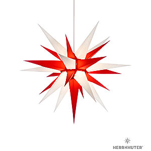 Advent Stars and Moravian Christmas Stars Herrnhuter Star I7 Herrnhuter Moravian Star I7 White/Red Paper - 70 cm / 27.6 inch