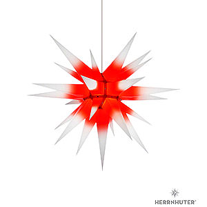 Advent Stars and Moravian Christmas Stars Herrnhuter Star I7 Herrnhuter Moravian Star I7 White with Red Core Paper - 70 cm / 27.6 inch