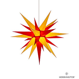 Advent Stars and Moravian Christmas Stars Herrnhuter Star I7 Herrnhuter Moravian Star I7 Yellow/Red Paper - 70 cm / 27.6 inch
