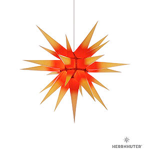 Advent Stars and Moravian Christmas Stars Herrnhuter Star I7 Herrnhuter Moravian Star I7 Yellow with Red Core Paper - 70 cm / 27.6 inch