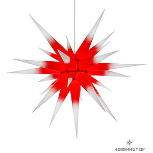 Advent Stars and Moravian Christmas Stars Herrnhuter Star I8 Herrnhuter Moravian Star I8 White with Red Core Paper - 80cm/31 inch