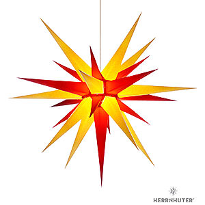 Advent Stars and Moravian Christmas Stars Herrnhuter Star I8 Herrnhuter Moravian Star I8 Yellow/Red Paper - 80cm/31 inch