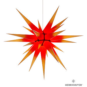 Advent Stars and Moravian Christmas Stars Herrnhuter Star I8 Herrnhuter Moravian Star I8 Yellow with Red Core - 80cm/31 inch