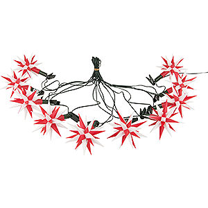 Advent Stars and Moravian Christmas Stars Herrnhuter Star chains Herrnhuter Moravian Star LED Chain A1s White/Red Plastic - 14m/15yard