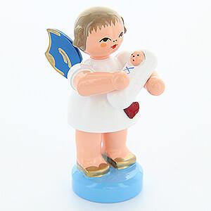 Weihnachtsengel Engel - blaue Flügel - klein Herzengel mit Baby Junge - Blaue Flügel - stehend - 6 cm