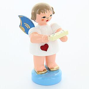 Weihnachtsengel Engel - blaue Flügel - klein Herzengel mit Tablettenbox - Blaue Flügel - stehend - 6 cm