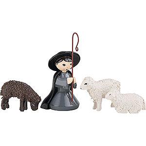 Kleine Figuren & Miniaturen ULMIK Krippe farbig Hirte kniend mit 3 Schafen farbig - 7 cm