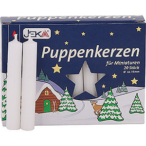 Lichterwelt Kerzen Hochwertige Puppenkerzen weiß - 1,0 cm Durchmesser