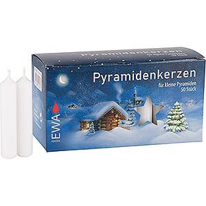 Lichterwelt Kerzen Hochwertige Pyramidenkerzen weiß - 1,4 cm Durchmesser