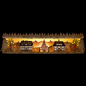 Candle Arches Illuminated Stands Illuminated Stand - Seiffen Village - 75x20 cm / 29.5x7.9 inch